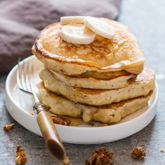 These banana pancakes are soft, fluffy and as easy as pancakes get. They are made from scratch with ripe bananas and are the perfect breakfast.