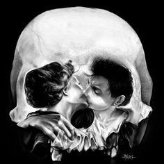 Kissing Skull Optical Illusion - http://www.moillusions.com/kissing-skull-optical-illusion/