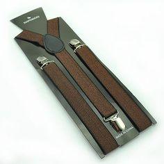 Unisex Men/Women Bronze/Brown Glitter Clip-on Braces Elastic Suspenders - saliceshop Suspenders Women, Brown Suspenders, Men And Women, Bronze, Glitter, Unisex, Wallet, Suspenders For Women