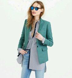 NEW $178 J.Crew Women's Regent Blazer Linen, Size 6, Autumn Bluegrass, b8430