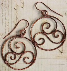 Hammered Copper Hoop Earrings Rustic Wire Wrapped Spirals | OwlHollowStudio ArtFire Gallery