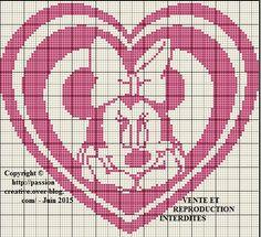 Grille gratuite point de croix : Minnie coeur rose - Le blog de Isabelle