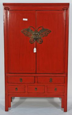 BK0009Y-Antique-Red-Lacquered-Chinese-Cabinet | by Silk Road Collection