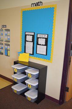 Math corner_dandelions and dragonflies: An Oregon Classroom Reveal! Math Center Organization, Classroom Organization, Classroom Management, Classroom Ideas, Organizing, Reading Centers, Math Centers, Classroom Arrangement, Interactive Board