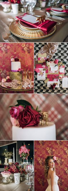 Dramatic bridal inspiration with deep hues of red and black with hints of gold Table Setting Inspiration, Wedding Inspiration, Pre Wedding Party, Centerpieces, Table Decorations, Bridal Shower, Table Settings, Deep, Party Time
