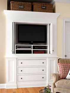 Today, the television has become the focal point for most family rooms. We've got ideas for placement, surrounding decor, and how to store those unsightly components in a great-looking way.