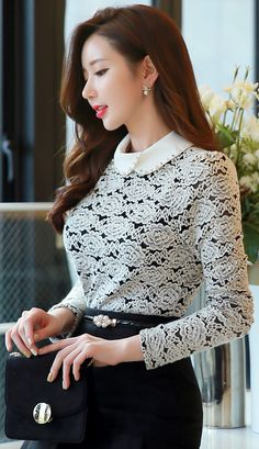 StyleOnme_Beaded Collar Floral Brushed Lace Blouse #floral #lace #wintertrend #feminine #koreanfashion #seoul #elegant #blouse #kstyle #kfashion #pretty #officelook