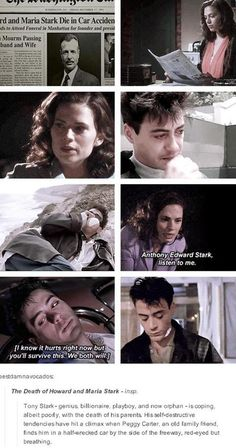 Peggy Carter and young Tony Stark after his parents' death