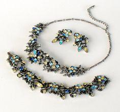 Vintage Coro Rhinestone Necklace Bracelet Earrings Set Japanned 1950s Demi Parure