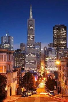 .Beautiful night shot of downtown San Francisco!