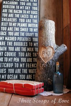 You + Me on a Tree, plus the cool sayings on background sign!   How romantic {sigh}
