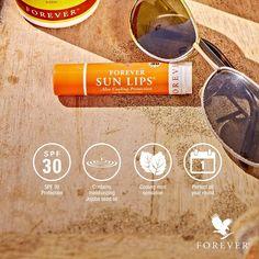 Kühlender Lippenbalsam!   FOREVER Sun Lips™ Pflegender Lippenbalsam, der die Lippen vor Sonne, Wind und kaltem Wetter schützt. Der Balsam stärkt die Widerstandsfähigkeit der Lippen und  lässt rissige und spröde Lippen erst gar nicht entstehen. Gleichzeitig verwöhnt er sie mit einem kühlenden, erfrischenden Hauch von Minze!