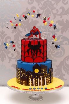 Two Tier Spiderman Themed Birthday Cake Willi Probst