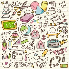 Kunst Zeichnungen - Cute Doodle Back to School Vinyl Wall Mural ✓ Easy Installation ✓ 365 Day Mo. Kawaii Drawings, Doodle Drawings, Doodle Art, Easy Drawings, Chalk Drawings, Griffonnages Kawaii, Kawaii Doodles, Doodle Inspiration, Sketch Notes