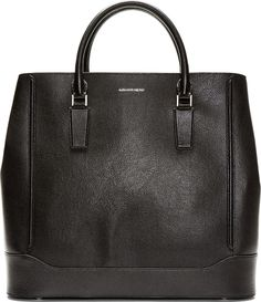 Alexander McQueen Black Leather Oversize Heroic Tote on shopstyle.com