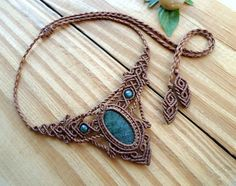 Moss agate macrame necklace macrame jewelry elven by SelinofosArt