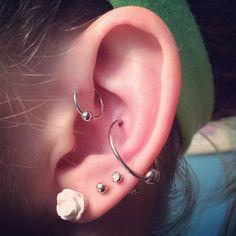My ear piercings(: #conch #piercings #helix