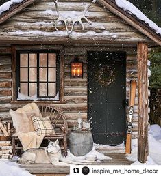 The perfect little log cabin on a winter night. Christmas is just around the corner... are you ready? Thanks to @ralphlaurenhome via @inspire_me_home_decor for the cozy inspiration. #winter #home #Christmas #cabin