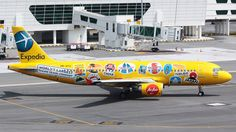 AirAsia (MY) Airbus A320-214 9M-AFG aircraft, painted in ''Expedia'' special colours Jun. 2012, with the stickers ''Hong Kong-Vietnam-Indonesia-Korea-China-Malaysia-Pilipinas-Singapore-Taiwan-Thailand-India & Japan'' on the airframe, skating at Malaysia Kuala Lumpur Sepang International Airport. 31/08/2014. (Expedia=an American World's largest onlone travel company).