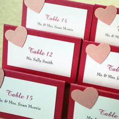 Pink Heart Place Card Valentines Wedding by willowglenstationery, $32.00