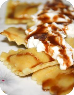 Butternut Squash Ravioli with Brown Sugar Syrup and Ricotta