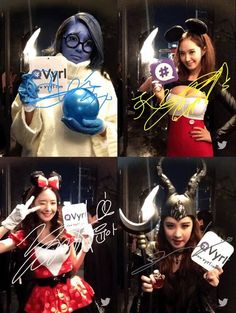 SNSD Smtown Wonderland costumes ‪#‎Disney‬ themed ..Sooyoung - Sadness Seo - Maleficent YoonYul - Mouse couple