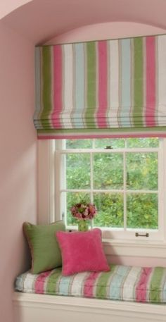 #Roman #shades w matching window seat & #pillows R a pretty way to set any room apart - esp. a little girl's room.