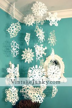 paper snowflake guide. pretty hanging against the wall