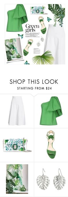 """""""In green"""" by magdafunk ❤ liked on Polyvore featuring Victoria Beckham, Rosie Assoulin, Dolce&Gabbana, Paul Andrew, The Sak, McGinn, GREEN, interiordesign, midiskirt and floralbag"""