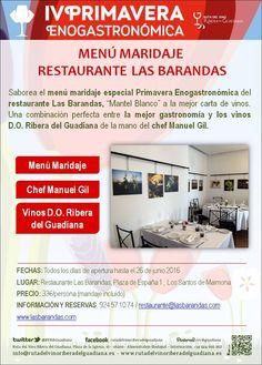 Disfruta de la gastronomía en el restaurante Las Barandas durante la #IVPrimaveraEnogastronómica #gastroturismo #enoturismo #Badajoz #Extremadura