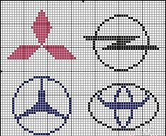 Cars logo x-stitch Embroidery Stitches, Embroidery Patterns, Cross Stitch Patterns, Pixel Art, Plastic Bead Crafts, Knitting Charts, Knitting Patterns, Hama Beads Design, Alpha Patterns