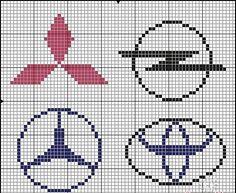 Cars logo x-stitch Knitting Charts, Knitting Patterns, Crochet Patterns, Embroidery Stitches, Embroidery Patterns, Cross Stitch Patterns, Pixel Art, Plastic Bead Crafts, Hama Beads Design