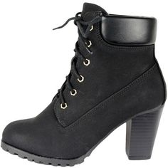 Womens Faux Leather Lace Up Rugged High Heel Ankle Boots Black ($28) via Polyvore #highheelbootsankle
