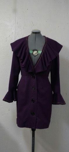 Woman's Fashion - Custom designed Royal purple coat with silk lining