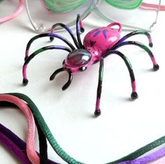 Handmade Multi Colored Spider Pendant Perfect by SpiderwoodHollow, $38.00