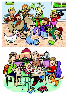 Photoshop Illustration examples- school pet day, family dinner