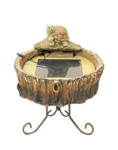 18 Solar Powered Distressed Tree Trunk Turtle Outdoor Garden Water Fountain ** This is an Amazon Affiliate link. To view further for this item, visit the image link.