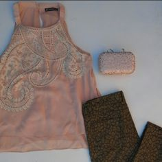 NWOT! ADRIANNA PAPEL BLUSH SILK PAISLEY BEADED TOP Gorgeous classy silk blush layered top.  Paisley Beaded Embroidery Classic sexy blouse Adrianna Papell Tops Blouses