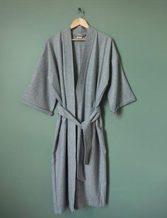 A long, sumptuous robe made from wool in classic grey marl. This robe is perfect for Winter days and nights at home; not heavy nor bulky like you may imagi French Seam, Winter Day, Wool, Grey, Classic, Sleeves, Presents, Style, Fashion