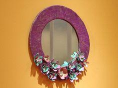 cardboard frame with flowers Flower Frame, Skull, Wall Mirror, Mirrors, Pretty, Flowers, Crafts, Diy, Craft Ideas
