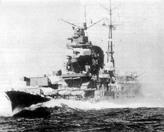 Tone class Japanese 8 in heavy cruiser Chikuma - she served in most of the main engagements of the Far East / Pacific war until her destruction by gunfire and air attack in October 1944. All four 8 in turrets were carried forward of the bridge to increase her seaplane carrying capacity aft.