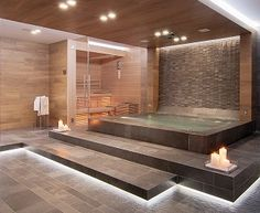 Saunas have come full circle and are now being seen as a luxury feature in many master bathrooms. Come take a tour with me and get inspired to dream! Home Spa Room, Spa Rooms, House Rooms, Bathroom Interior, Modern Bathroom, Minimalist Bathroom, Small Bathroom, Piscina Interior, Saunas