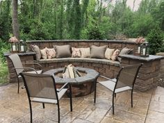 Seating Wall Fire Pit and Stamped Concrete Patio