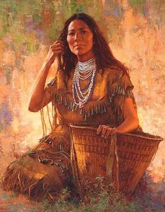""" ISDZAN - APACHE WOMAN ""  Howard Terpning"