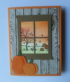 Fall card using Happy Scenes stamp set and Hearth & Home Thinlits from the new Holiday Catalog.