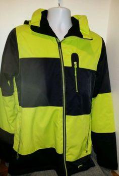 Mens-Small-Eira-Stability-Black-Safety-Hivis-Yellow-Jacket-Coat-Multi-Pockets