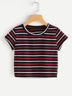 ROMWE Casual T shirts Women 2017 Summer Contrast Striped Tee Multicolor Summer Basic T-shirt Short Sleeve Women Top Edgy Outfits, Summer Outfits, Girl Outfits, Fashion Outfits, Fashion Ideas, Womens Fashion, Autumn Outfits, Fashion Fashion, Vintage Fashion