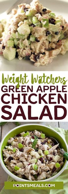 Green Apple Chicken Salad Source by pointsmeals Skinny Recipes, Ww Recipes, Light Recipes, Salad Recipes, Chicken Recipes, Cooking Recipes, Healthy Recipes, Healthy Meals, Kitchen Recipes
