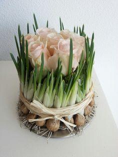 Weer eens wat anders als een standaard vaas! Roosjes - Bloembollen - Voorjaar - Lente
