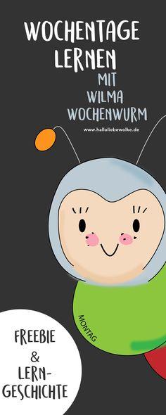 Die Wochentage lernen mit Wilma Wochenwurm. Eine Lerngeschichte für Kinder in Kita, Vorschule und Grundschule und ein Ausmalbild für die Beschäftigung an Regentagen. ;) Mit Printable und Freebie auf dem Wolke Blog. <3